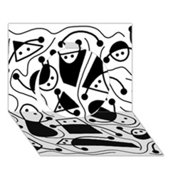 Playful abstract art - white and black Circle 3D Greeting Card (7x5)