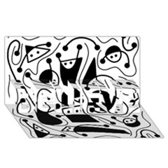 Playful abstract art - white and black BELIEVE 3D Greeting Card (8x4)