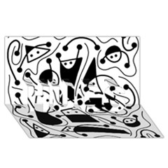 Playful abstract art - white and black HUGS 3D Greeting Card (8x4)