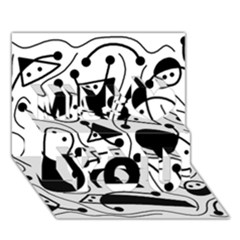 Playful abstract art - white and black Miss You 3D Greeting Card (7x5)