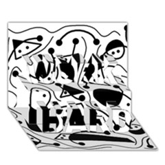 Playful abstract art - white and black WORK HARD 3D Greeting Card (7x5)