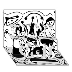 Playful abstract art - white and black THANK YOU 3D Greeting Card (7x5)