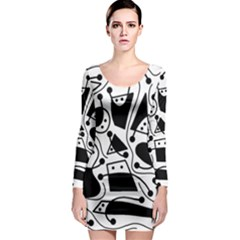 Playful abstract art - white and black Long Sleeve Bodycon Dress