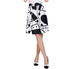 Playful abstract art - white and black A-Line Skirt