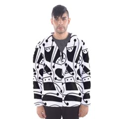 Playful abstract art - white and black Hooded Wind Breaker (Men)