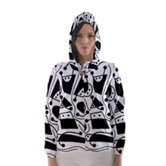 Playful abstract art - white and black Hooded Wind Breaker (Women)