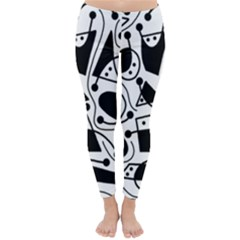 Playful abstract art - white and black Winter Leggings