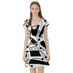 Playful abstract art - white and black Short Sleeve Skater Dress