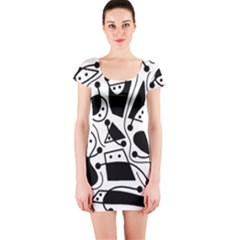 Playful abstract art - white and black Short Sleeve Bodycon Dress