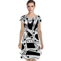 Playful abstract art - white and black Cap Sleeve Nightdress