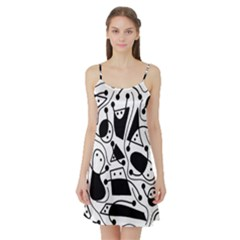 Playful abstract art - white and black Satin Night Slip