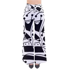 Playful abstract art - white and black Pants