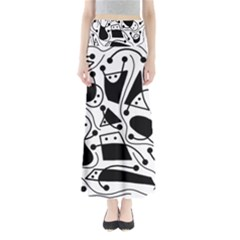 Playful abstract art - white and black Maxi Skirts