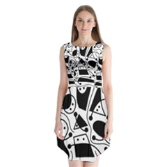 Playful abstract art - white and black Sleeveless Chiffon Dress