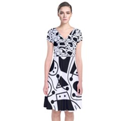 Playful abstract art - white and black Short Sleeve Front Wrap Dress