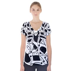 Playful abstract art - white and black Short Sleeve Front Detail Top