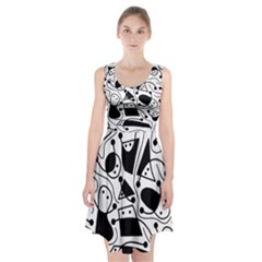 Playful Abstract Art   White And Black Racerback Midi Dress