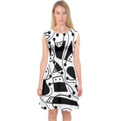 Playful Abstract Art   White And Black Capsleeve Midi Dress