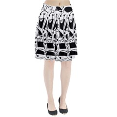 Playful abstract art - white and black Pleated Skirt