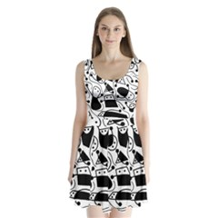 Playful Abstract Art   White And Black Split Back Mini Dress