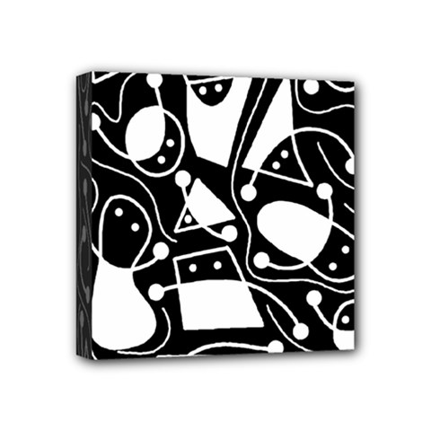 Playful abstract art - Black and white Mini Canvas 4  x 4