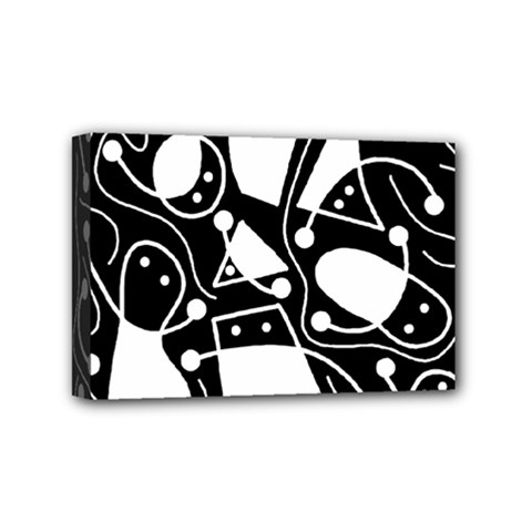 Playful abstract art - Black and white Mini Canvas 6  x 4