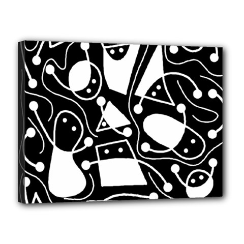 Playful abstract art - Black and white Canvas 16  x 12
