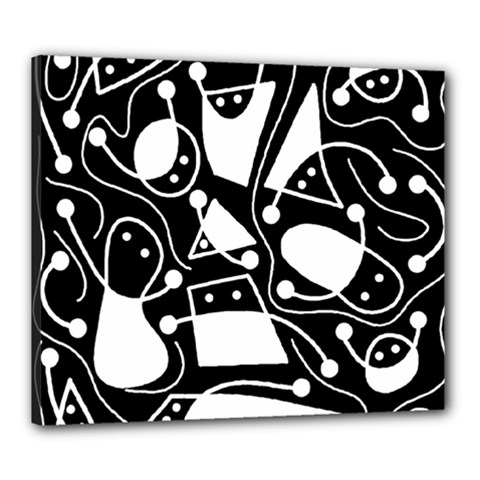 Playful abstract art - Black and white Canvas 24  x 20