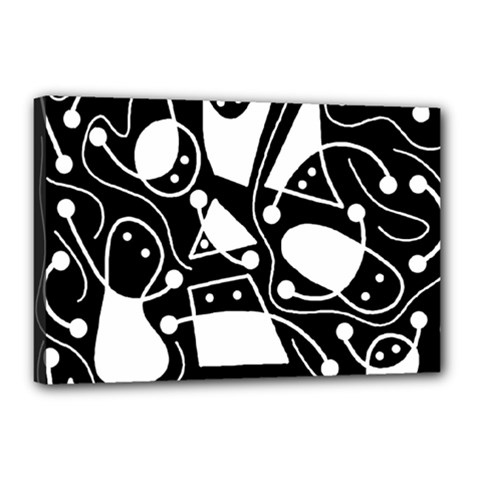Playful abstract art - Black and white Canvas 18  x 12