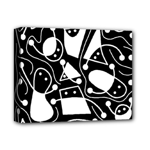 Playful abstract art - Black and white Deluxe Canvas 14  x 11