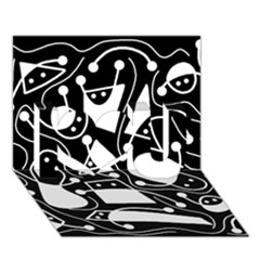 Playful abstract art - Black and white I Love You 3D Greeting Card (7x5)