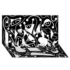 Playful abstract art - Black and white MOM 3D Greeting Card (8x4)