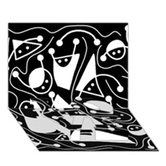Playful abstract art - Black and white LOVE Bottom 3D Greeting Card (7x5)