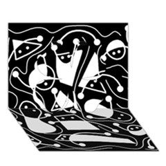 Playful abstract art - Black and white Clover 3D Greeting Card (7x5)