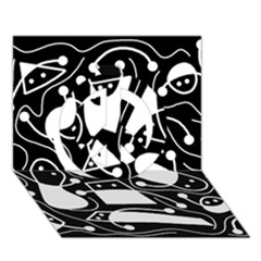 Playful abstract art - Black and white Peace Sign 3D Greeting Card (7x5)