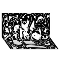 Playful abstract art - Black and white #1 MOM 3D Greeting Cards (8x4)