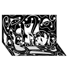 Playful abstract art - Black and white BELIEVE 3D Greeting Card (8x4)