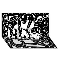 Playful abstract art - Black and white HUGS 3D Greeting Card (8x4)