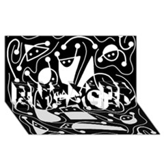 Playful Abstract Art   Black And White Engaged 3d Greeting Card (8x4)