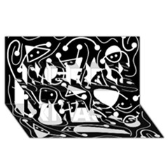 Playful abstract art - Black and white Merry Xmas 3D Greeting Card (8x4)