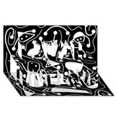 Playful abstract art - Black and white Laugh Live Love 3D Greeting Card (8x4)