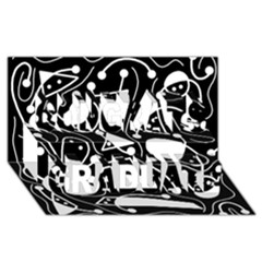 Playful abstract art - Black and white Congrats Graduate 3D Greeting Card (8x4)