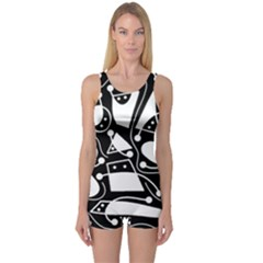 Playful abstract art - Black and white One Piece Boyleg Swimsuit