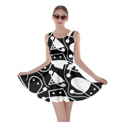 Playful abstract art - Black and white Skater Dress