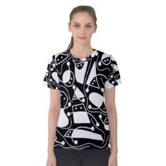 Playful abstract art - Black and white Women s Cotton Tee