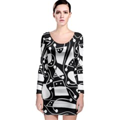 Playful abstract art - Black and white Long Sleeve Bodycon Dress