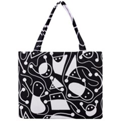 Playful abstract art - Black and white Mini Tote Bag