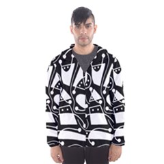 Playful abstract art - Black and white Hooded Wind Breaker (Men)
