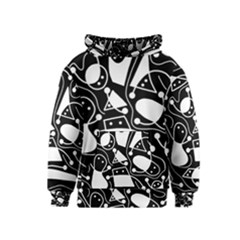 Playful abstract art - Black and white Kids  Pullover Hoodie