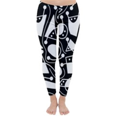 Playful abstract art - Black and white Winter Leggings